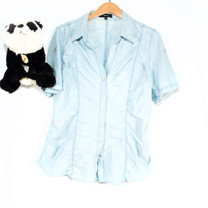 Light blue Express fitted button down top